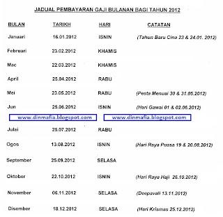 jadual pembayaran gaji kakitangan awam tahun 2012 kakitangan awam juga