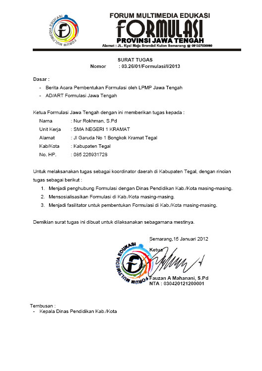 scane Surat Tugas ke kepala dinas