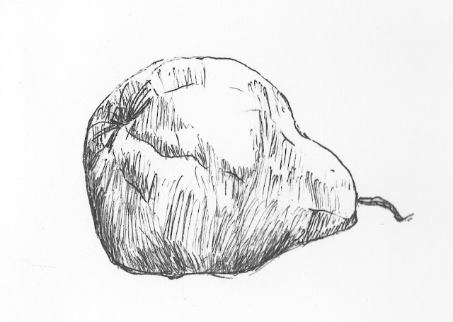 ink pear drawing