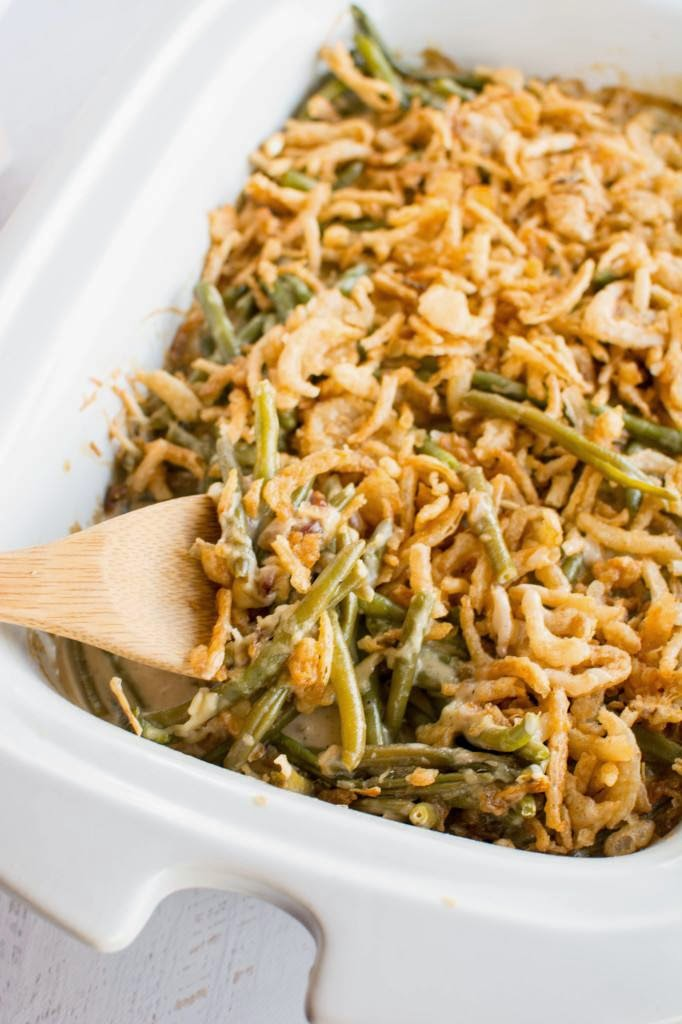 Crockpot Green Bean Casserole from Crockpot Gourmet featured on SlowCookerFromScratch.com