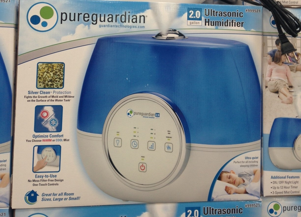 Pure Guardian Ultrasonic Humidifier features warm or cold mist option