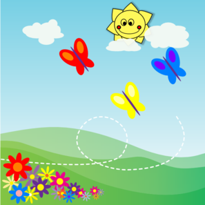 Happy outdoor scene with butterflies, flowers and a happy sun
