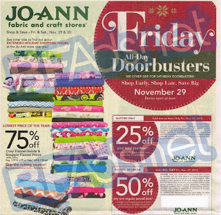 Joann's Black Friday ad for 2013