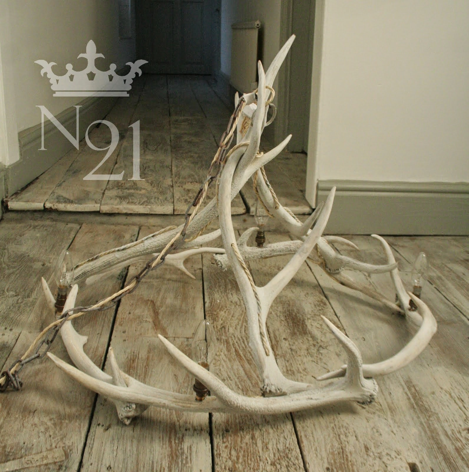 Lime washed Antler Chandelier