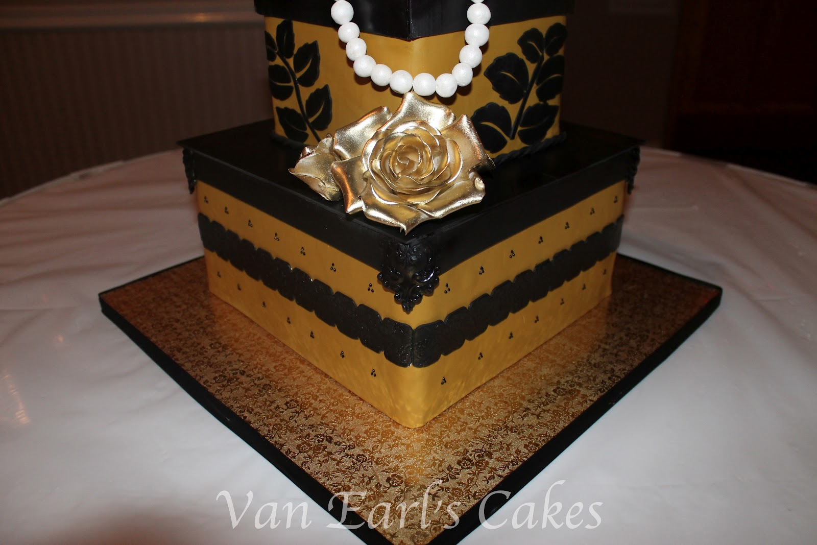 Van Earls Cakes 50th Gold And Black Birthday Cake