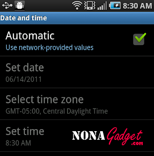 date and time setting android