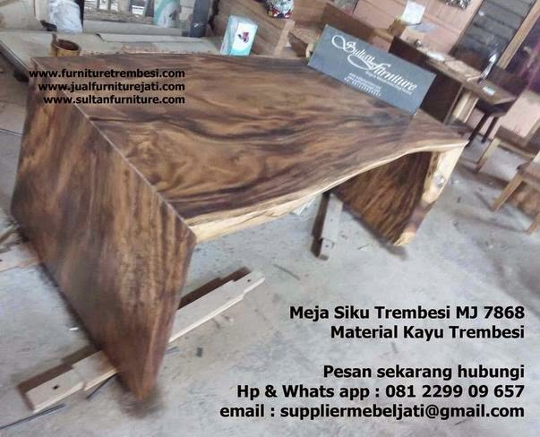 Meja Trembesi kayu utuh model siku furniture mebel solid jepara Indonesia