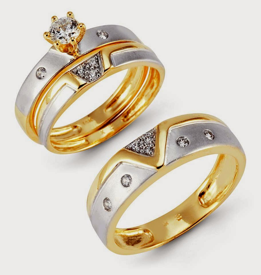 Trio Diamond Silver Wedding Ring Sets Two Tone Gold pictures hd