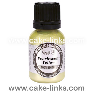 Pearlescent Yellow Edible Paint for cake decorating