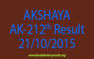 AKSHAYA AK 212 Lottery Result 21-10-2015