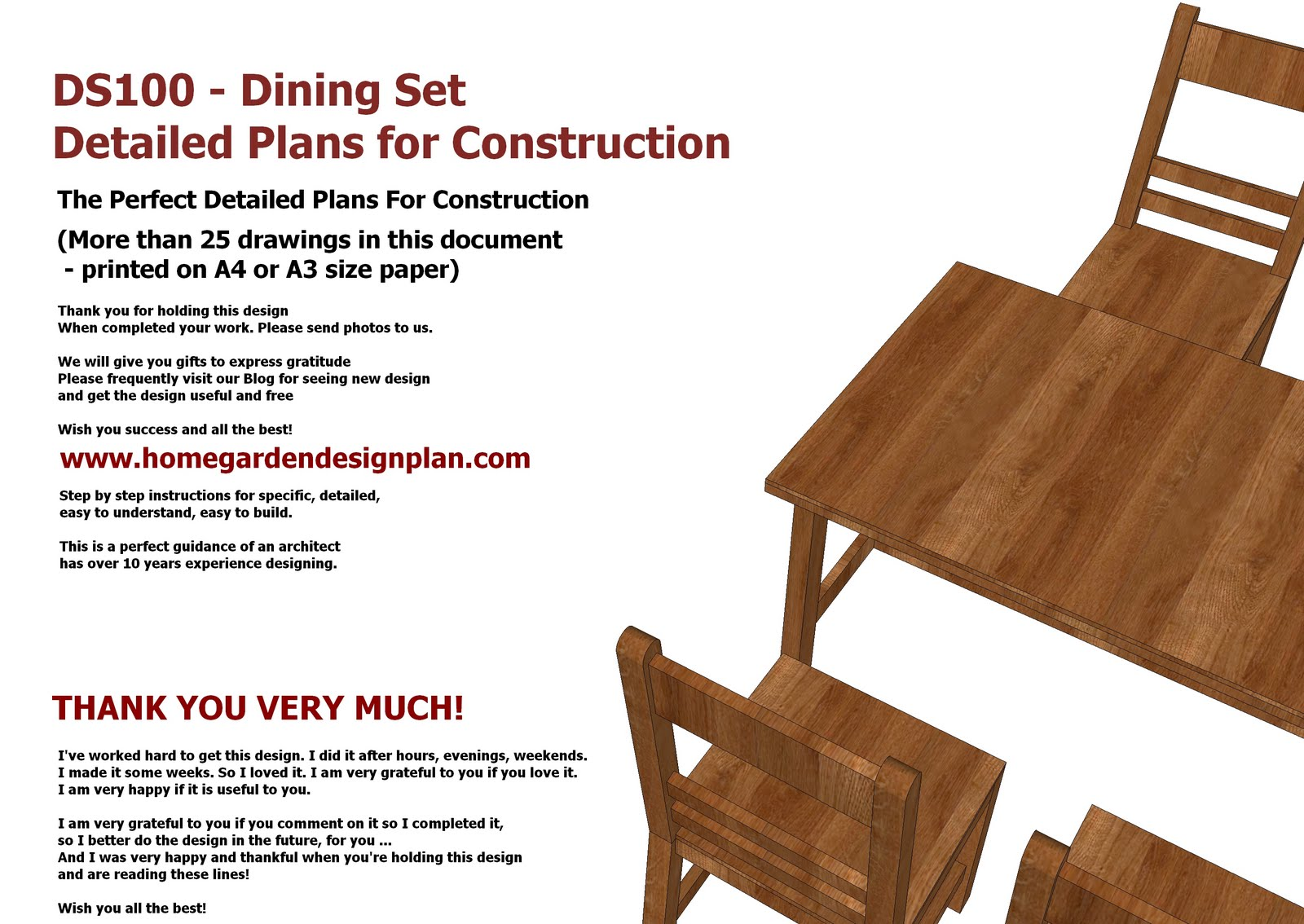 DS100   Dining Table Set Plans   Woodworking Plans   Outdoor Furniture Plans Part 97