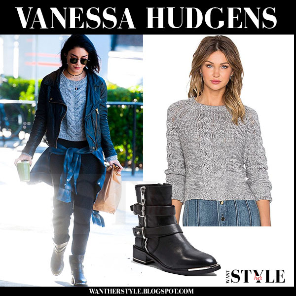 Vanessa Hudgens in grey knit lovers friends darcy sweater, black jeans and black ankle dolce vita zachary boots what she wore streetstyle