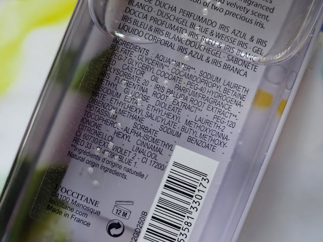 L'Occitane Iris Bleu & Iris Blanc Collection Shower Gel Ingredients