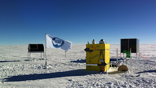 The HEAT telescope sitting in an Antarctic landscape