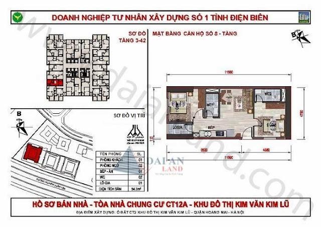 Căn 08 - Tòa CT12A Chung Cư Kim Văn Kim Lũ