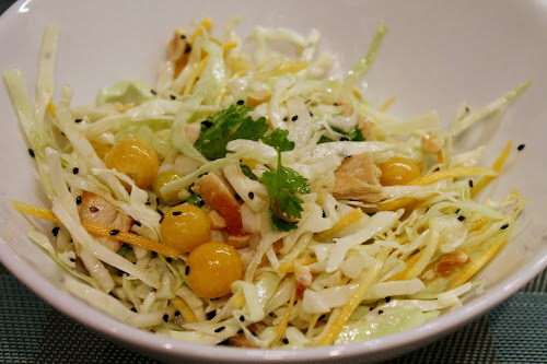 Asian Slaw with Ground Cherries and Chicken