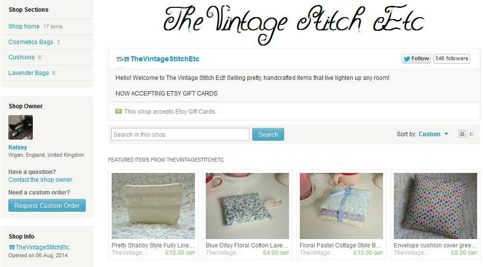 Etsy Shop The Vintage Stitch Etc