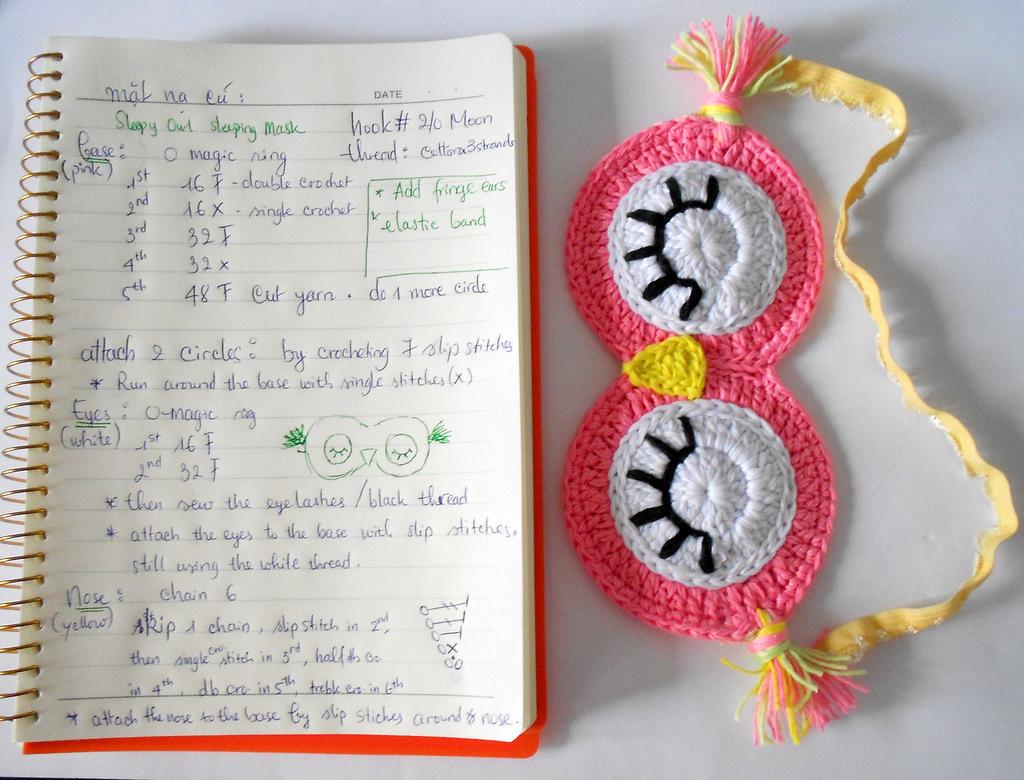 Firefly Crochet: Sleepy Owl sleeping mask - Mặt nạ cú đi ngủ free ...
