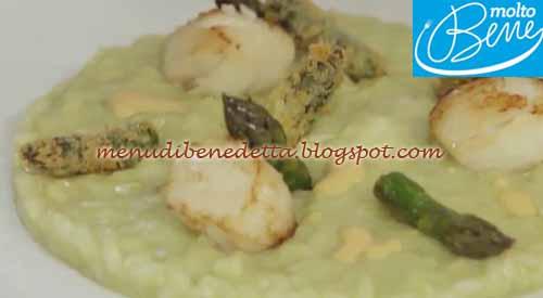 Risotto con asparagi e capesante ricetta Parodi per Molto Bene su Real Time