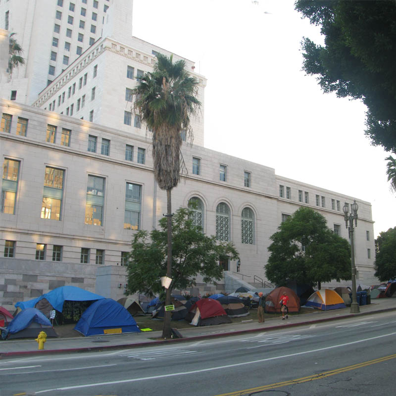 Occupy Los Angeles - tents in front of City Hall