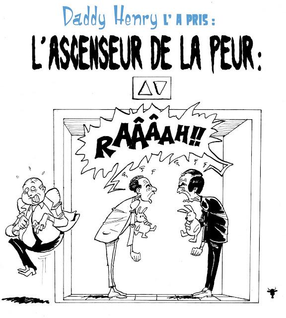 caricature, dessin, copé, fillon, UMP, bataille des chefs, guerre de succession à l'UMP, ascenseur de la peur, brésil, caméra cachée