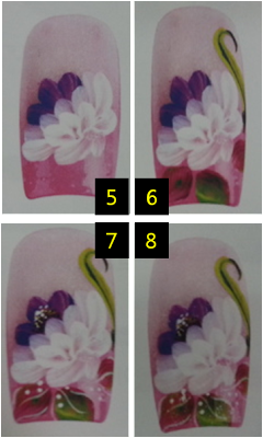 Chrysanthemum nail art drawing, nail art strok, easy to follow nail art