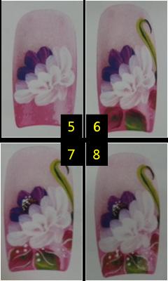 Chrysanthemum nail art drawing, nail art strok, easy to follow nail art