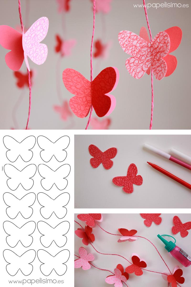 Okul ncesi sanat ve fen etkinlikleri - Como hacer mariposas de papel para decorar paredes ...