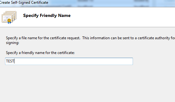 specify friendly name in iis
