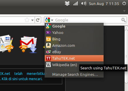 Search engine TahuTEk.net di search bar