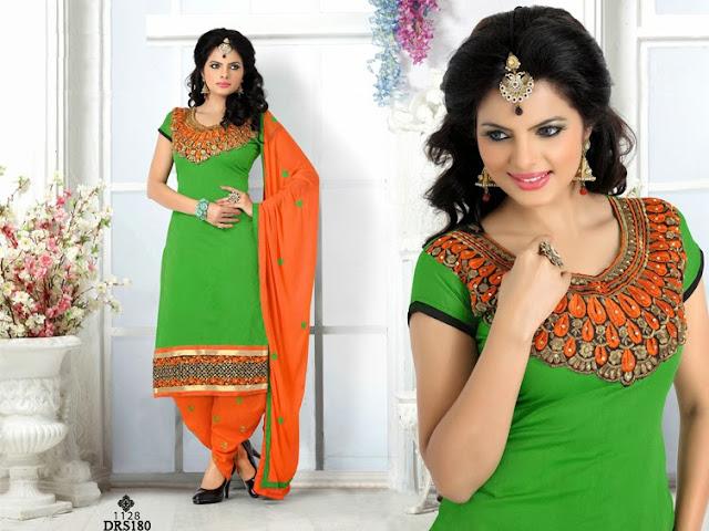 Buy Online Patiala Chanderi Cotton Dress Material
