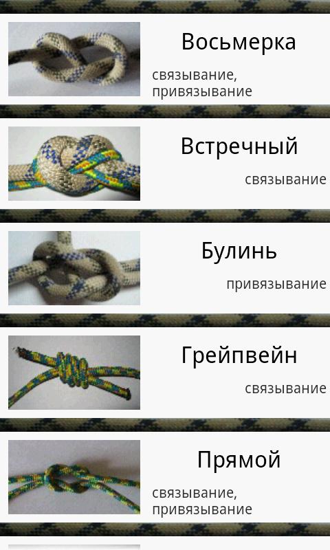 Схемы вязания туристических узлов с названиями 17