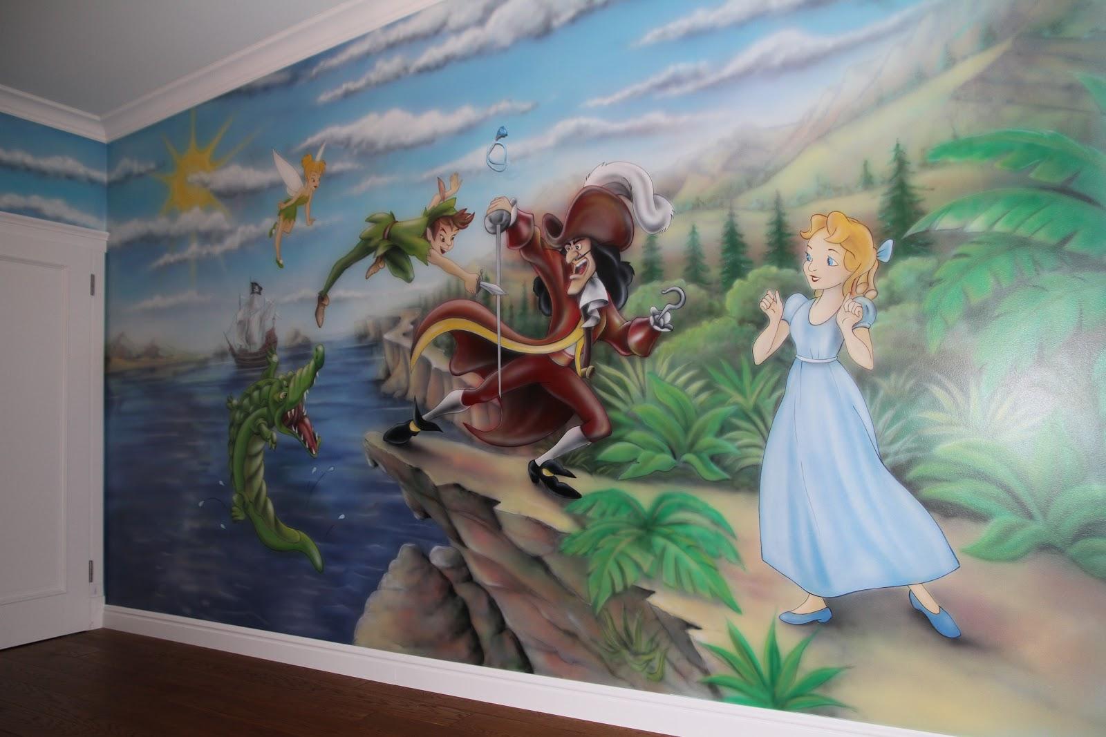 Malowanie obrazu w pokoju dziecięcym, Piotruś Pan aranżacja pokoju chłopca. Warszawa