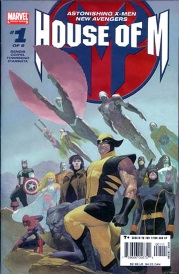 Cover of House of M, featuring a large assortment of X-Men, Wolverine foremost among them. The group also includes a couple of non-mutant heroes like Spider-Man and Captain America. They stand or fly in heroic poses.