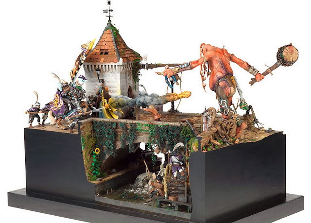 Giant attacks Empire town Diorama