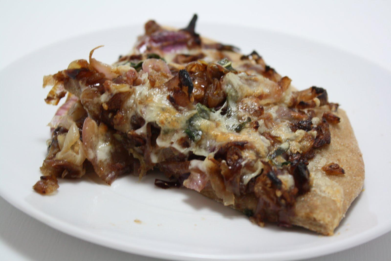 Cupcakes & Combat Boots: Fontina, Caramelized Onion & Pancetta Pizza