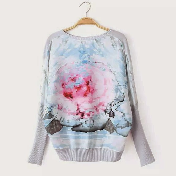 RIBBED CUFFS FLORAL SWEATER
