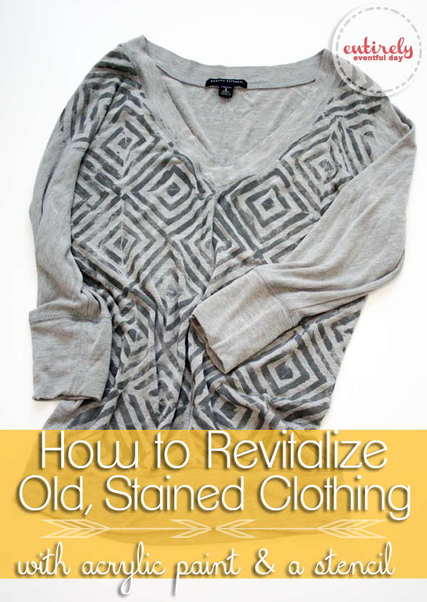 How to paint old stained clothes and make them adorable! What a great idea! entirelyeventfulday.com #refashion #fashion