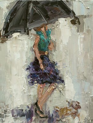 DANCING IN THE RAIN, fashion ladies with umbrellas, fashion painting, kathryn morris trotter, UMBRELLA GIRL, www.kathryntrotterart.com,