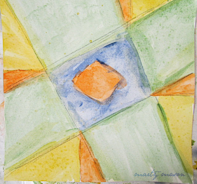 watercolor rendition of quilt block