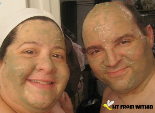 Me and Mr. LitFromWithin having a couples' mask with Majestic Pure Indian Healing Clay