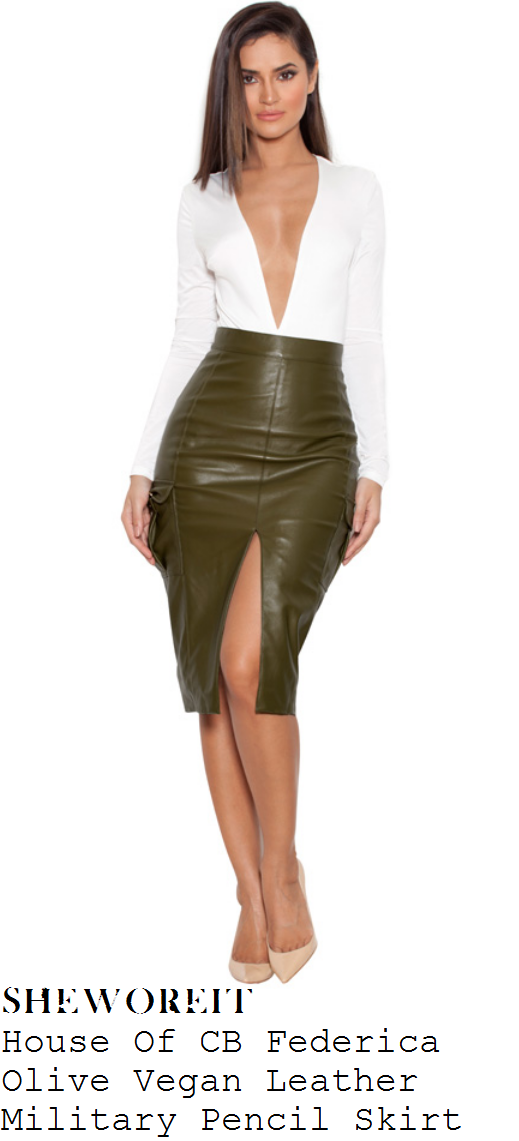 jennifer-metcalfe-green-high-waisted-front-split-faux-leather-pencil-skirt