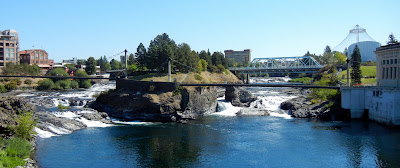 Downtown waterfalls in Spokane, Washington