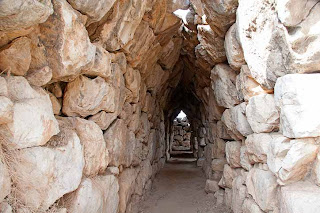 Tiryns galleries made of massive stone blocks