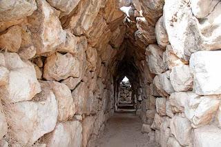 Tiryns galleries made of massive stone blocks