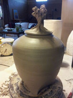 Artistic Urn, pinon pine urn for ashes