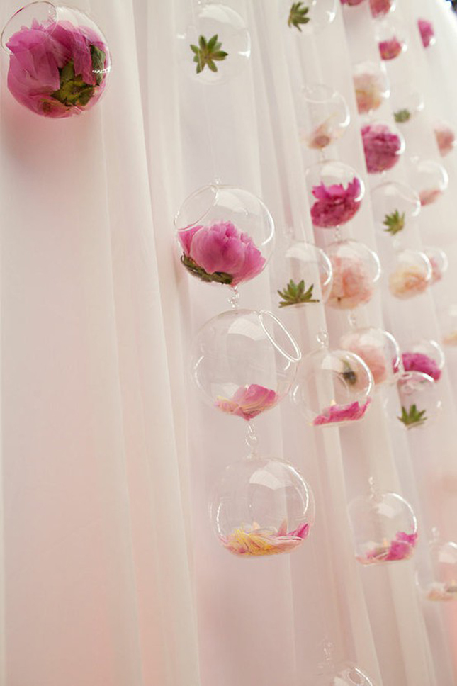 Wedding trends hanging wedding decor part 2 belle for Floral wedding decorations ideas