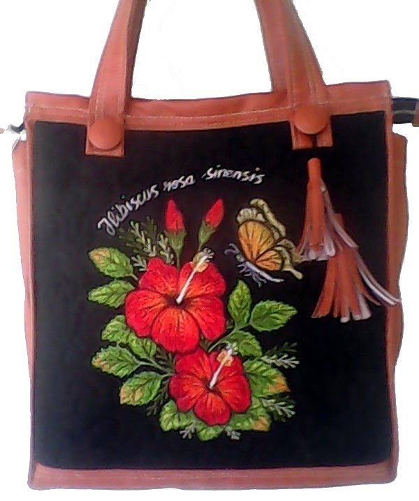 hibiscus embroidered handbag