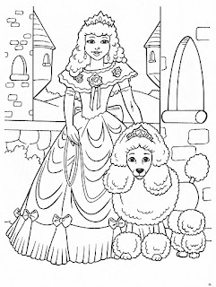 Princesa con su perro para colorear