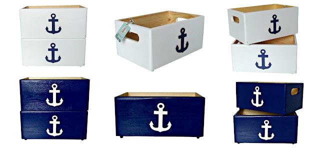 pudełka na zabawki z kotwicą w stylu marynarskim Eco Manufaktura